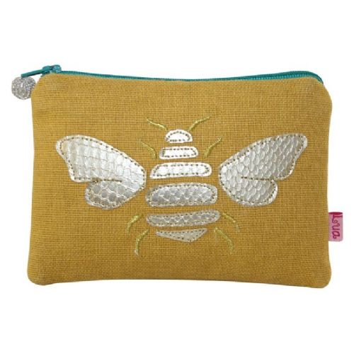 Lua Designs Gold Bee Applique Coin Purse In Yellow